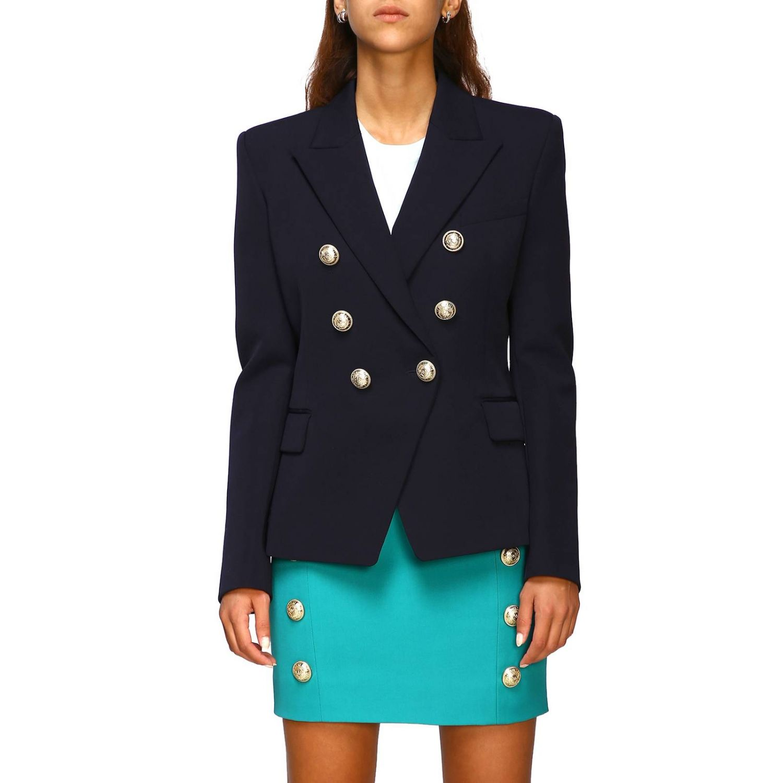 Giacca Balmain a doppiopetto in lana con bottoni gioiello blue 1