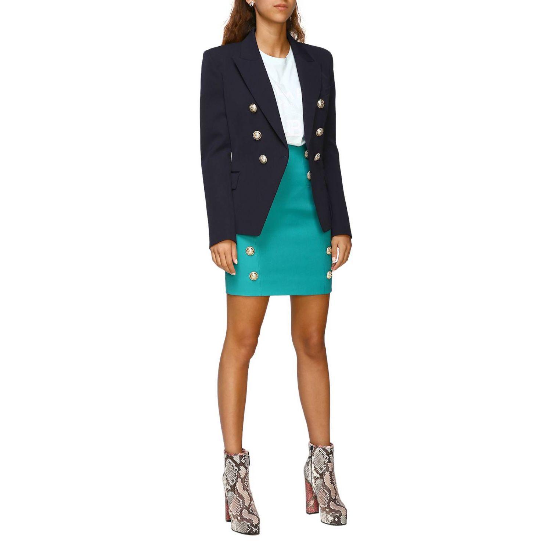 Giacca Balmain a doppiopetto in lana con bottoni gioiello blue 2