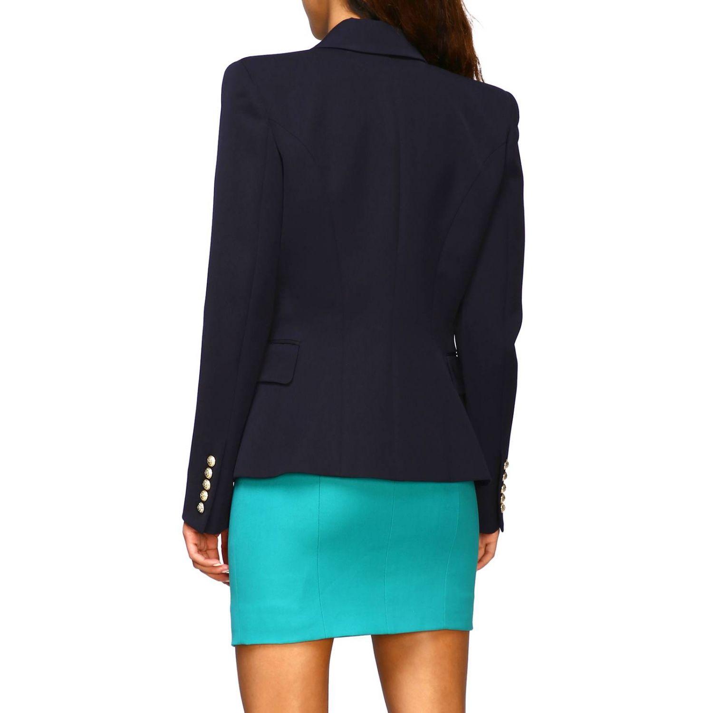 Giacca Balmain a doppiopetto in lana con bottoni gioiello blue 3