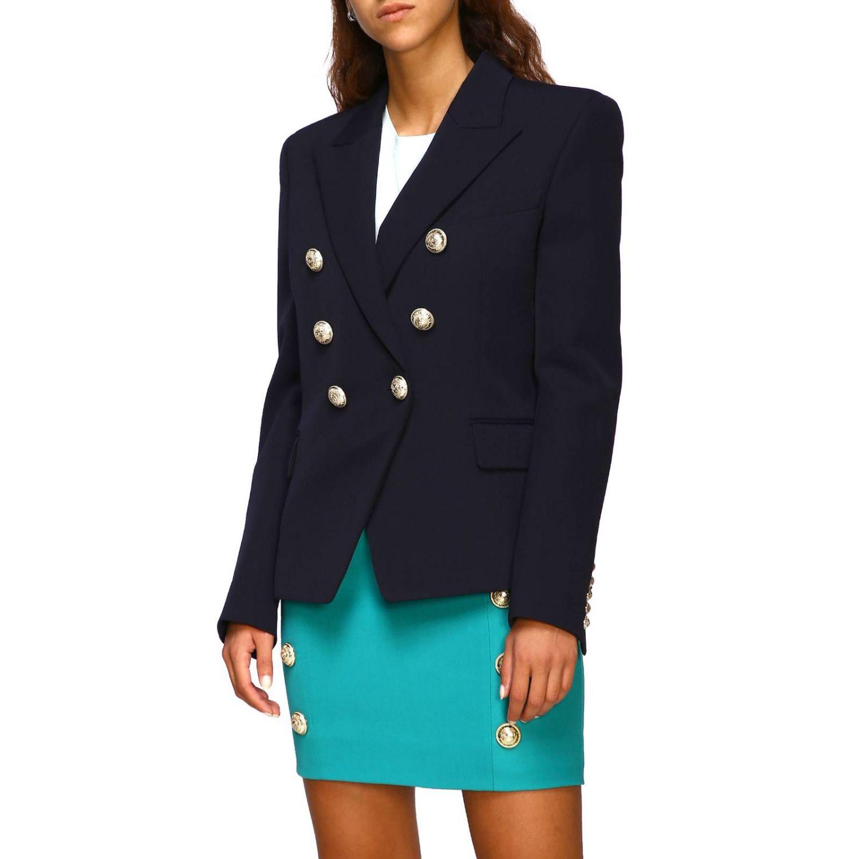 Giacca Balmain a doppiopetto in lana con bottoni gioiello blue 4