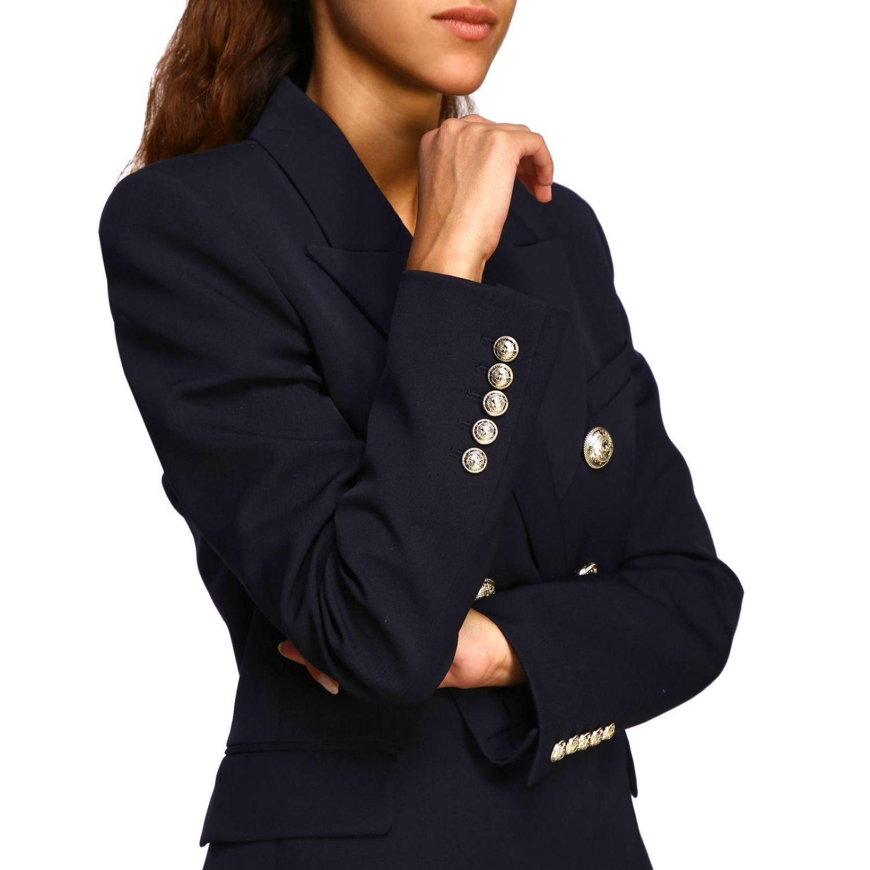 Giacca Balmain a doppiopetto in lana con bottoni gioiello blue 5