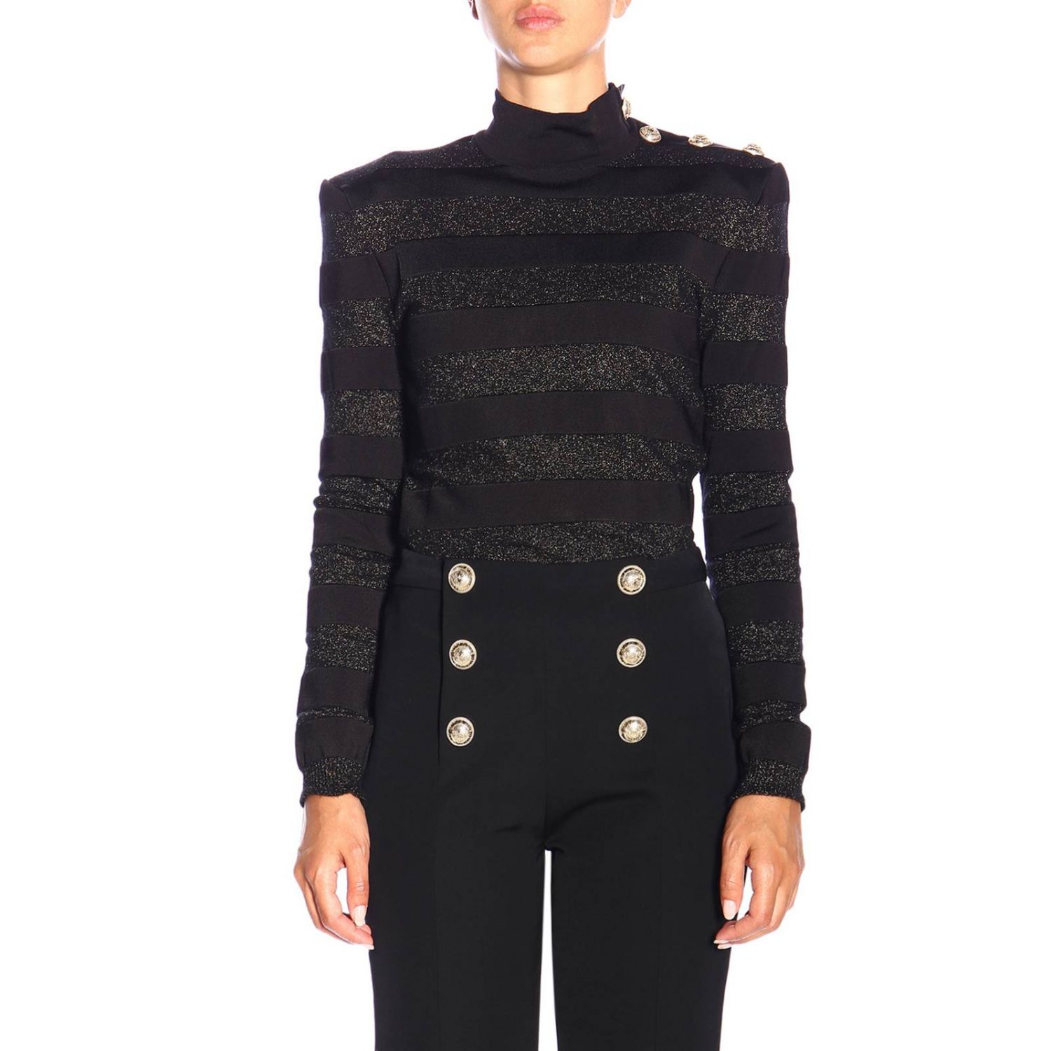 Jumper Balmain: Balmain turtleneck sweater with lurex bands and jewel buttons black 1