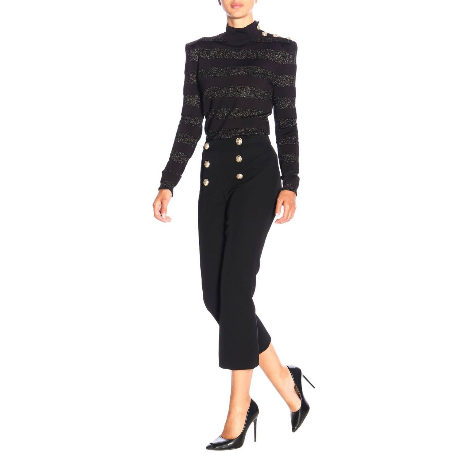 Jumper Balmain: Balmain turtleneck sweater with lurex bands and jewel buttons black 2