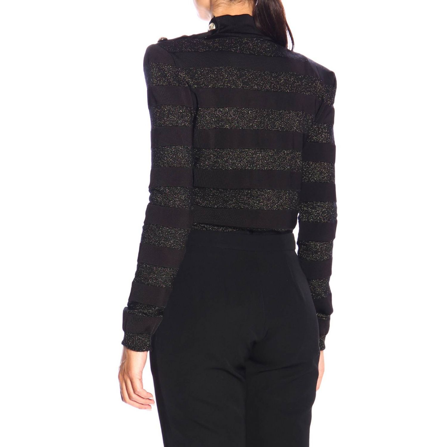 Jumper Balmain: Balmain turtleneck sweater with lurex bands and jewel buttons black 3