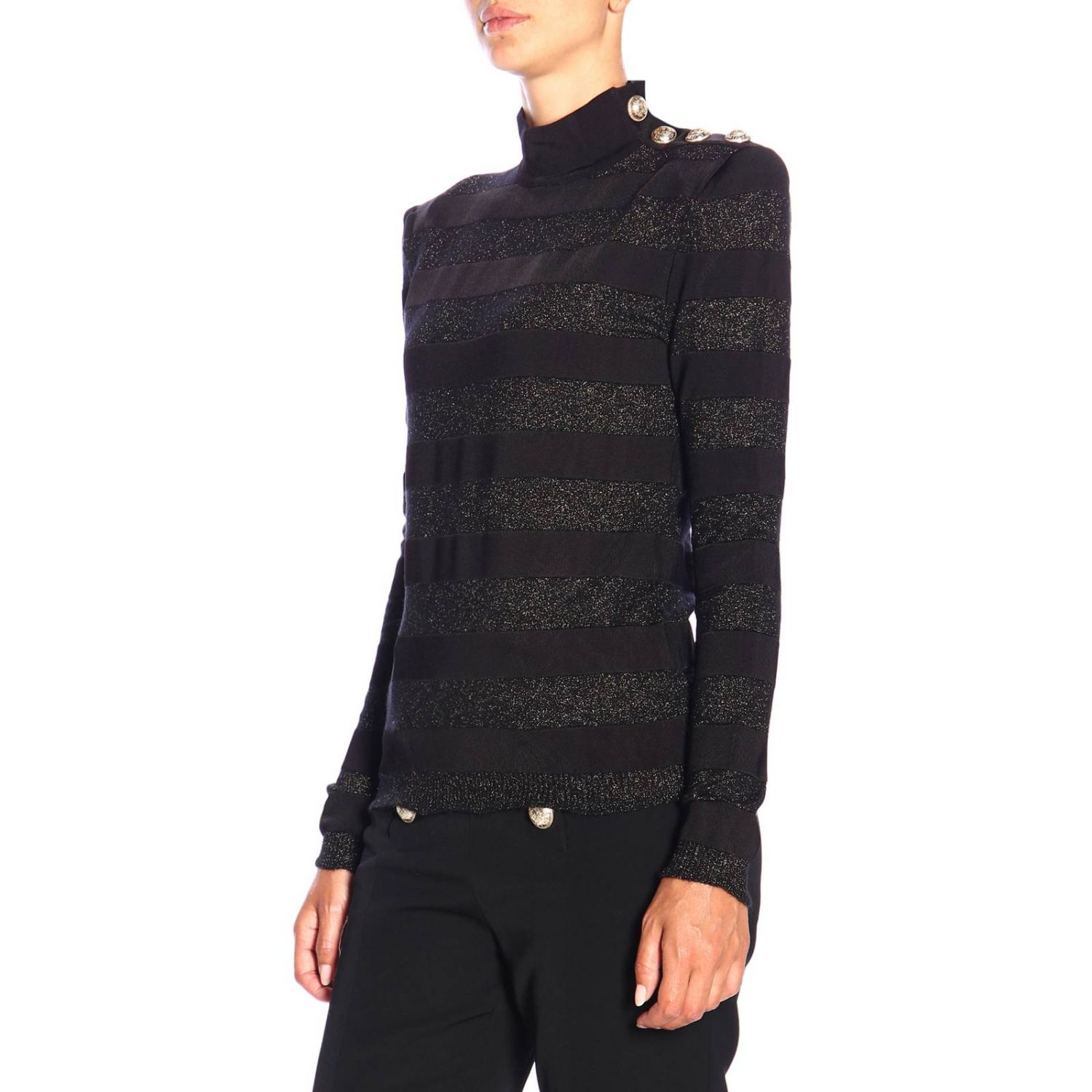 Jumper Balmain: Balmain turtleneck sweater with lurex bands and jewel buttons black 4