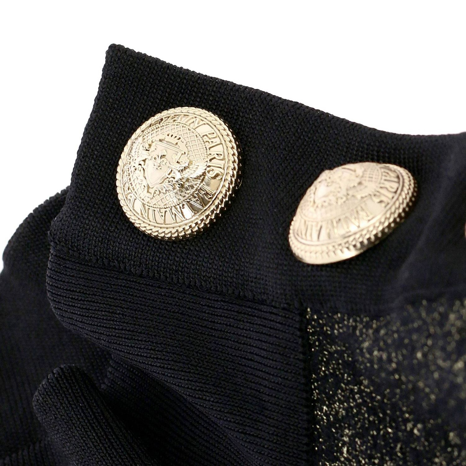 Jumper Balmain: Balmain turtleneck sweater with lurex bands and jewel buttons black 5
