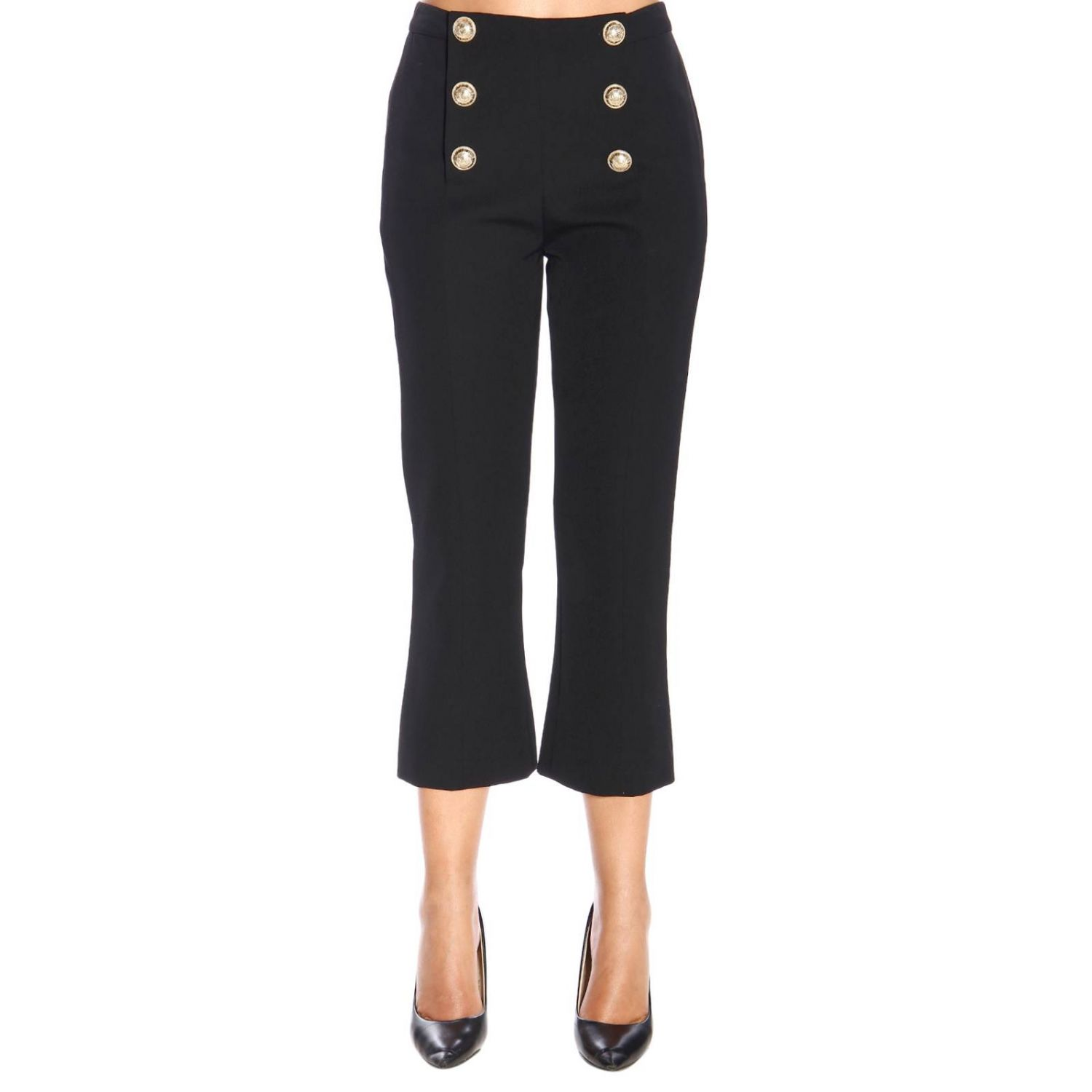 Trousers Balmain: Balmain wool trumpet trousers with jewel buttons black 1