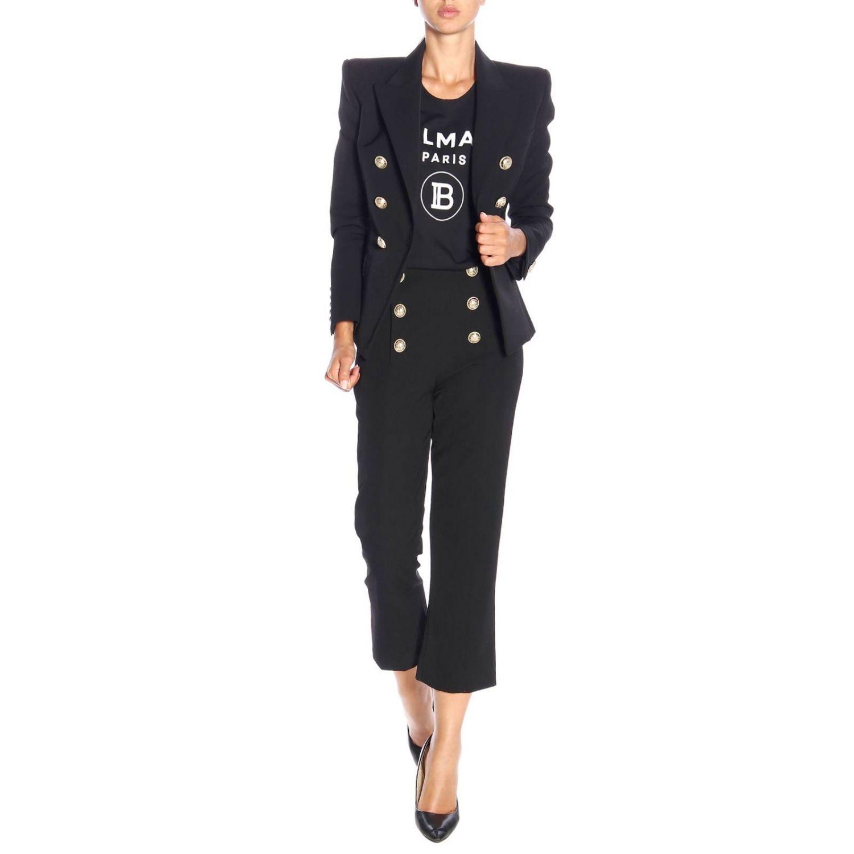 Pantalone Balmain a trombetta in lana con bottoni gioiello nero 2