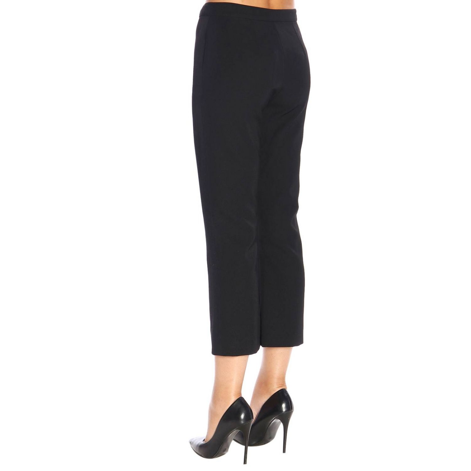 Trousers Balmain: Balmain wool trumpet trousers with jewel buttons black 3