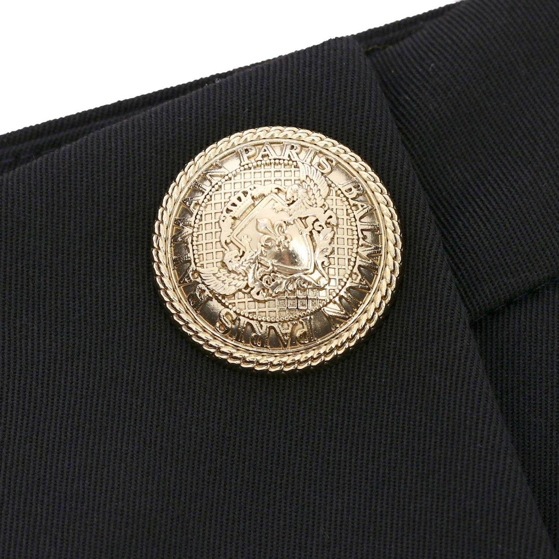 Pantalone Balmain a trombetta in lana con bottoni gioiello nero 4