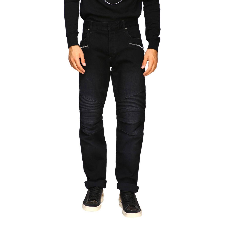 Jeans Balmain: Balmain biker jeans in slim stretch denim with logo black 1