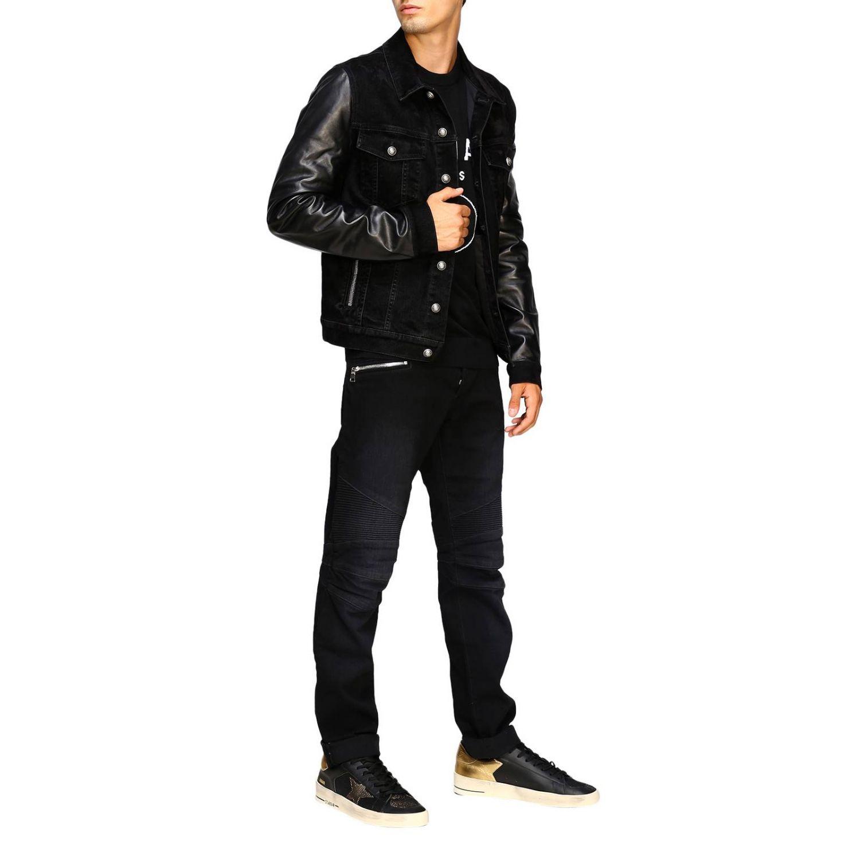 Jeans Balmain: Balmain biker jeans in slim stretch denim with logo black 2