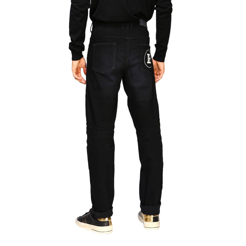 Jeans Balmain: Balmain biker jeans in slim stretch denim with logo black 3