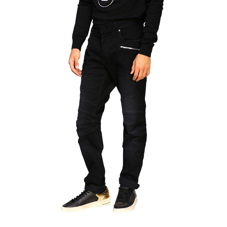 Jeans Balmain: Balmain biker jeans in slim stretch denim with logo black 4
