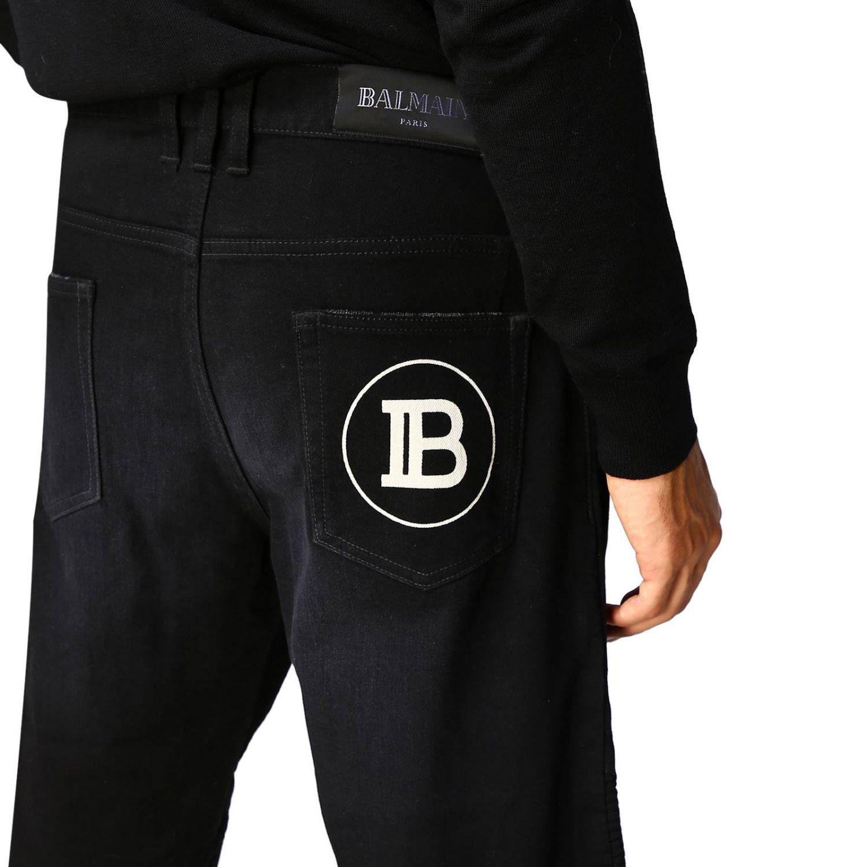 Jeans Balmain: Balmain biker jeans in slim stretch denim with logo black 5