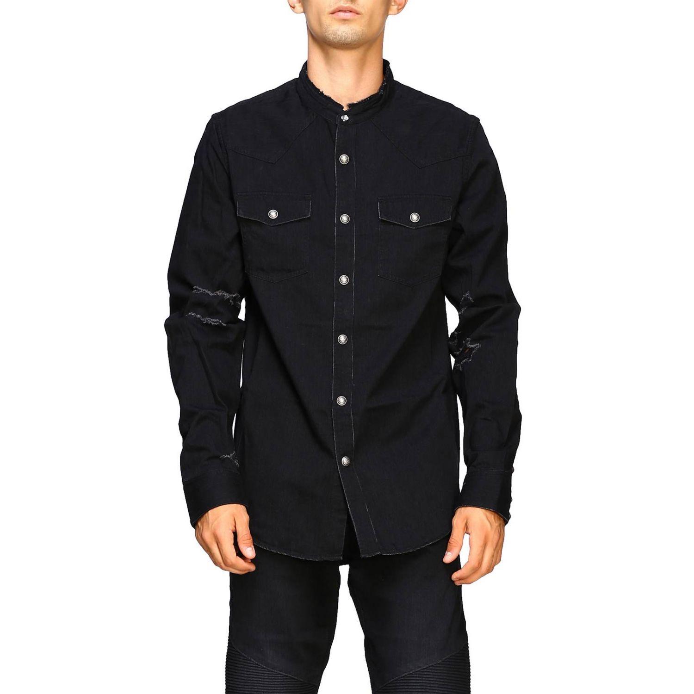 Balmain Camicia Denim con logo dietro nero 1