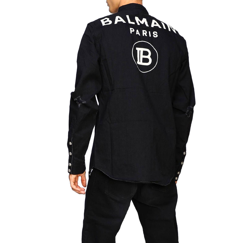 Balmain Camicia Denim con logo dietro nero 3