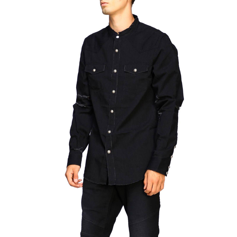 Balmain Camicia Denim con logo dietro nero 4