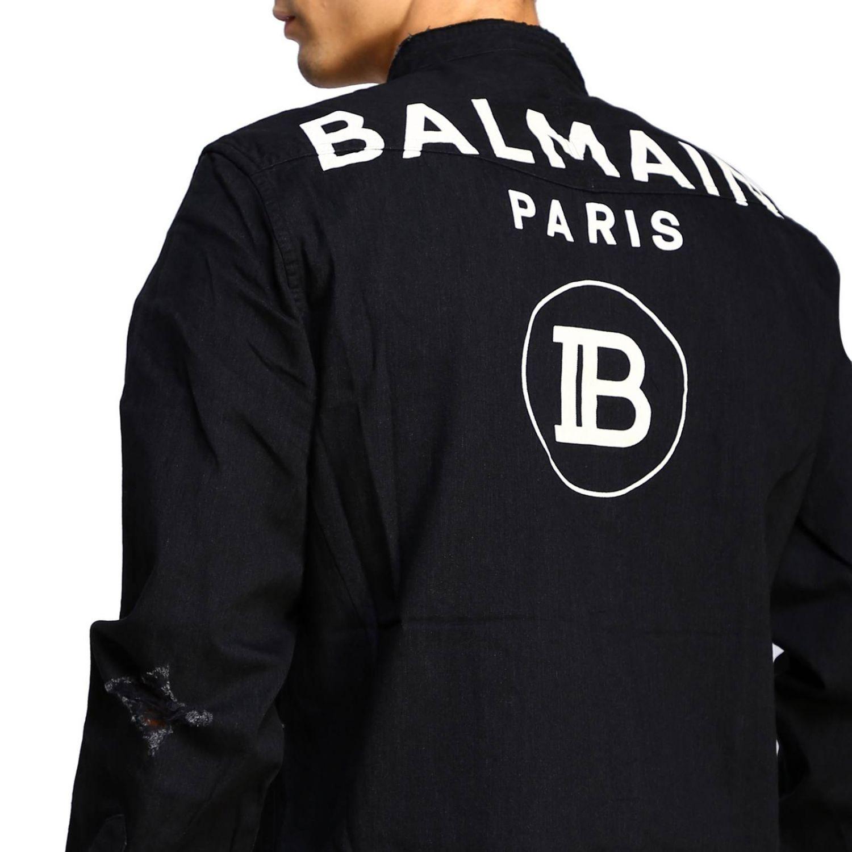 Balmain Camicia Denim con logo dietro nero 5