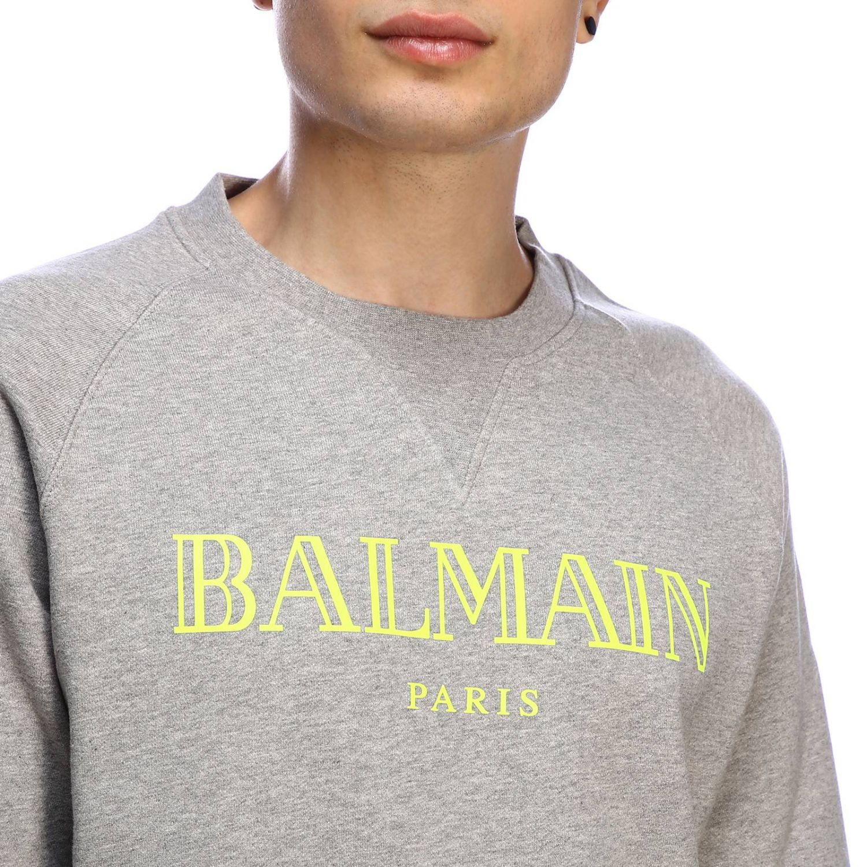 Balmain logo印花圆领卫衣 灰色 4