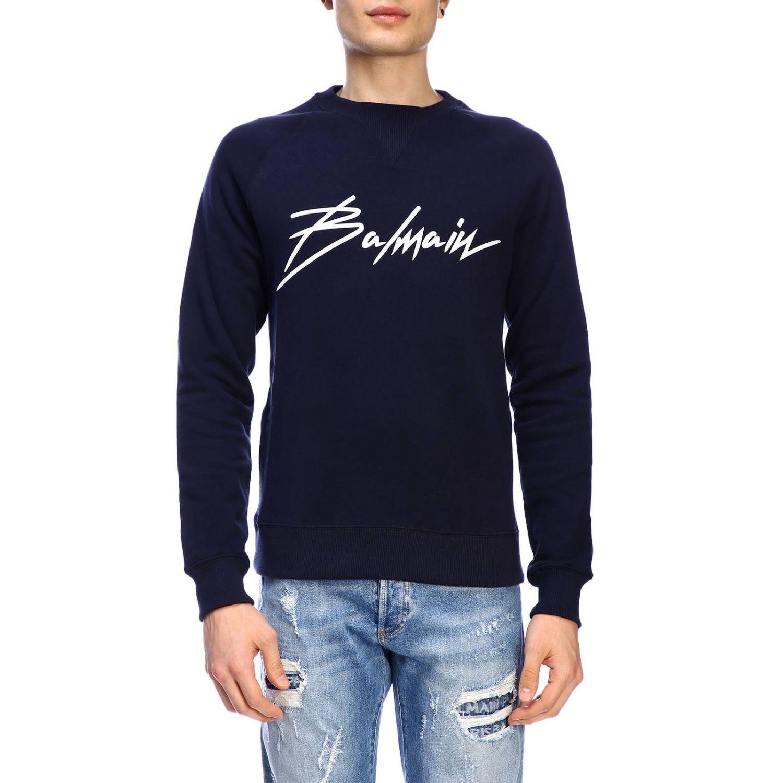 Balmain logo印花圆领卫衣 蓝色 1
