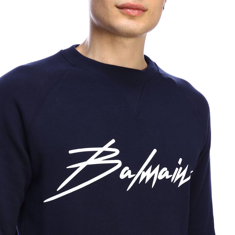 Balmain logo印花圆领卫衣 蓝色 4