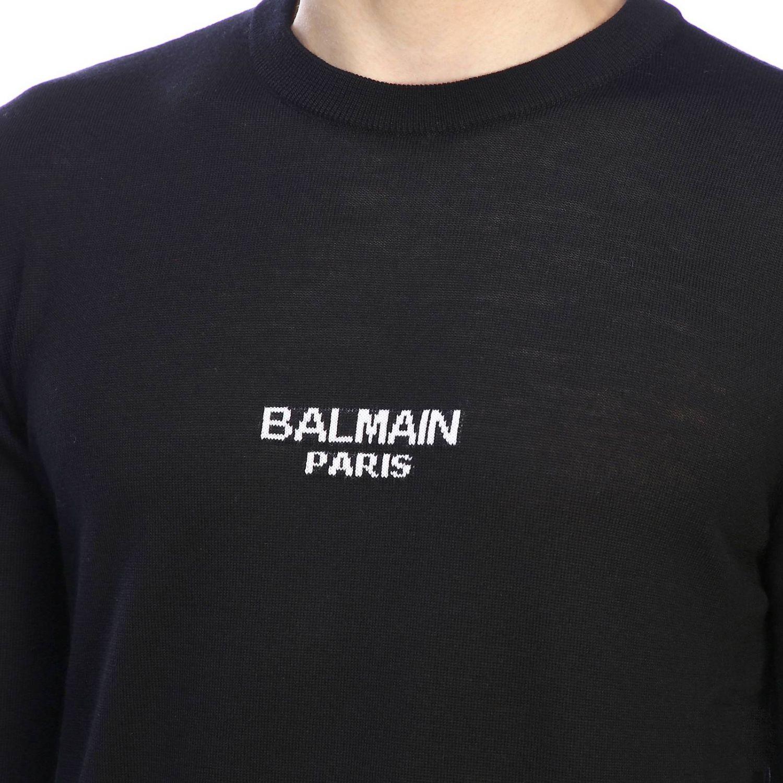 Свитер Balmain: Свитер Balmain с круглым вырезом и логотипом черный 4