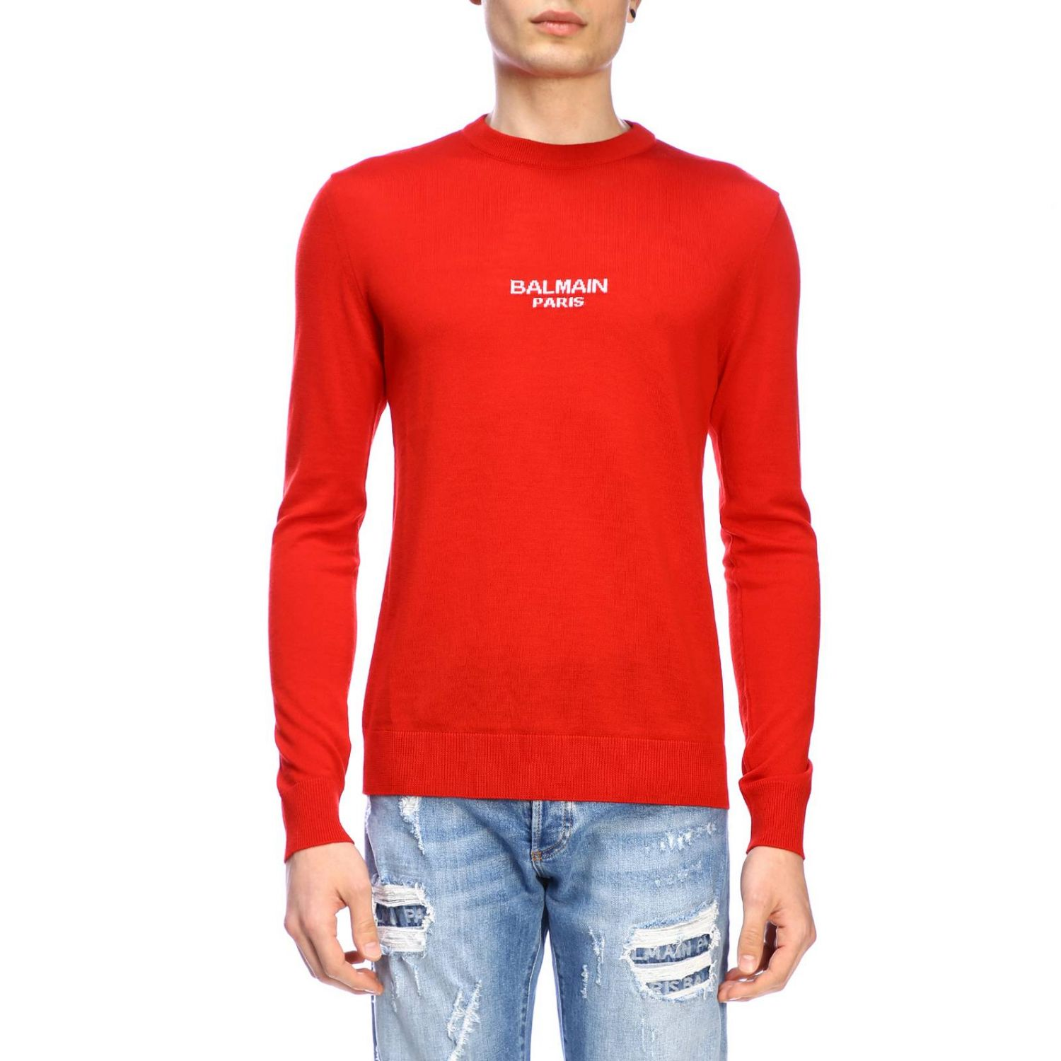 Jumper Balmain: Balmain crew-neck jumper with logo red 1