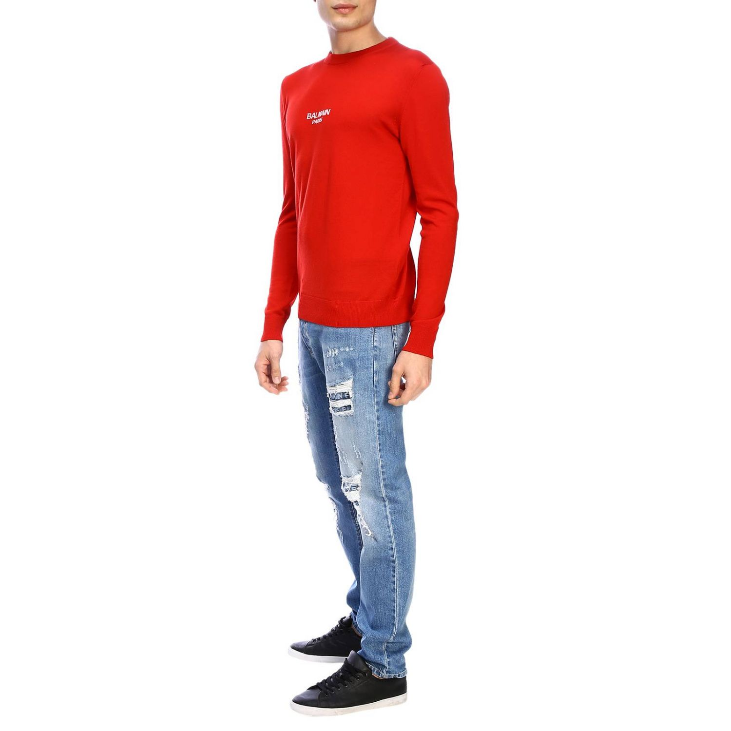 Jumper Balmain: Balmain crew-neck jumper with logo red 2