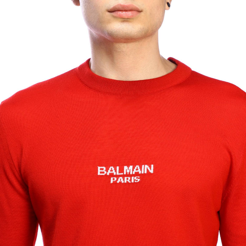 Pull Balmain: Pull à col rond Balmain avec logo rouge 4