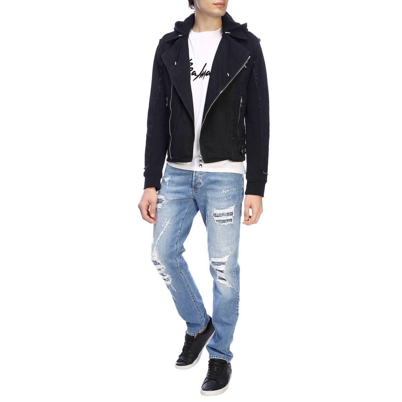 Джинсы Balmain: Джинсы Balmain slim fit из денима с эффектом потертости с искусственными заплатками в логотипах потертый джинс 2