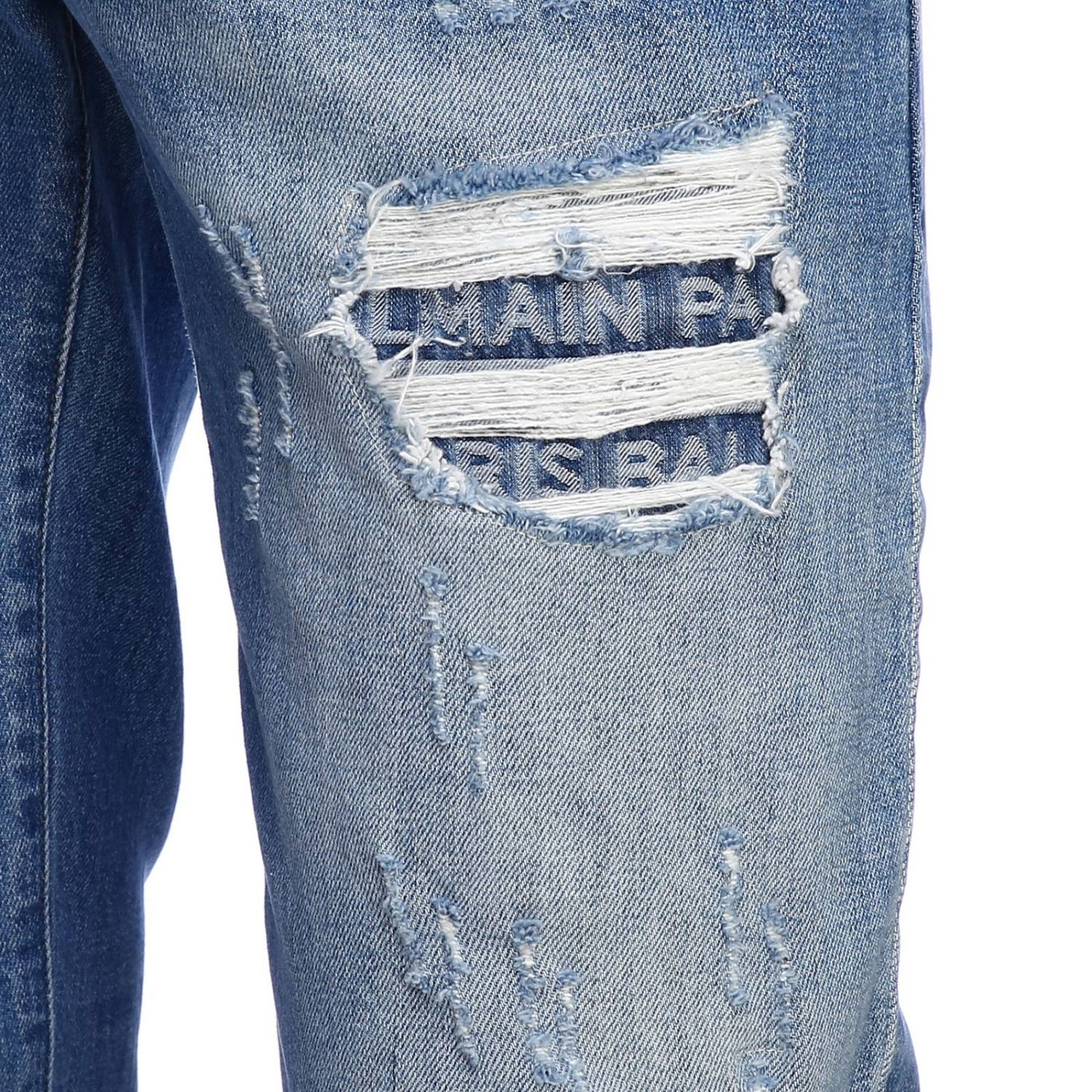 Jeans Balmain: Balmain slim fit jeans in used effect denim with maxi breaks and logoed patches stone washed 4