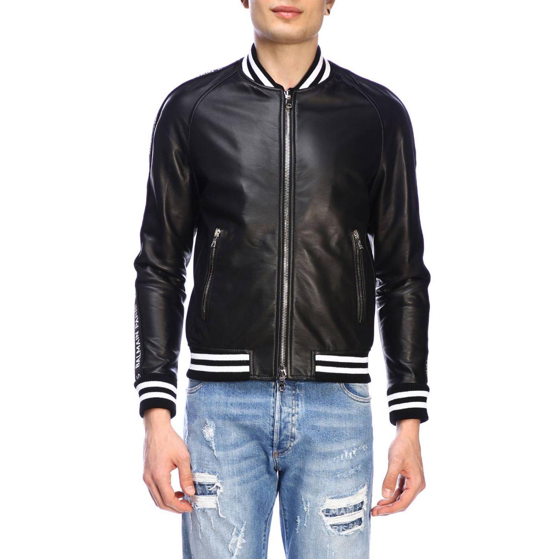 Jacke Balmain: Balmain Bomberjacke aus Leder mit Maxibändern mit Logo schwarz 1