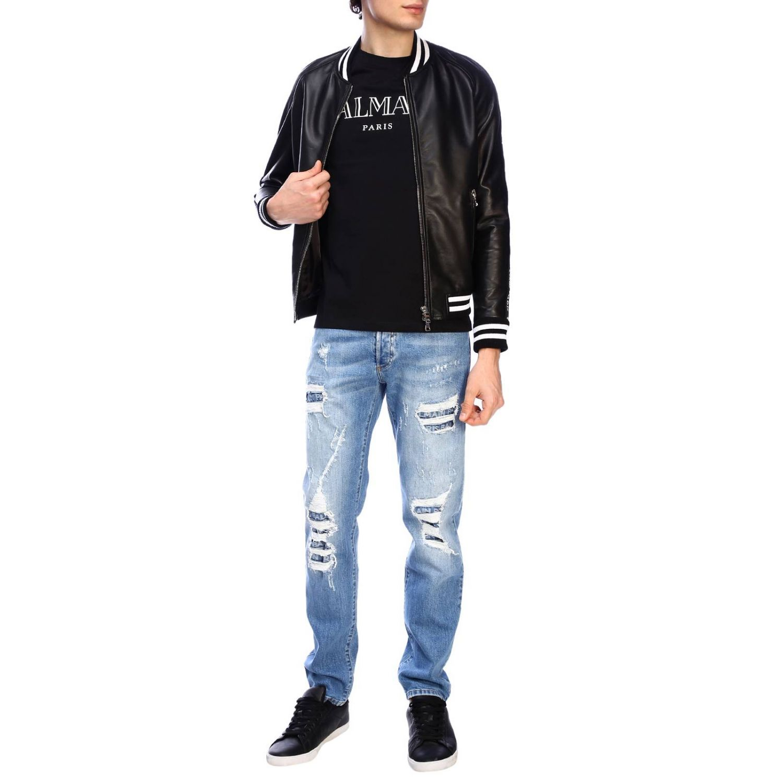 Jacke Balmain: Balmain Bomberjacke aus Leder mit Maxibändern mit Logo schwarz 2