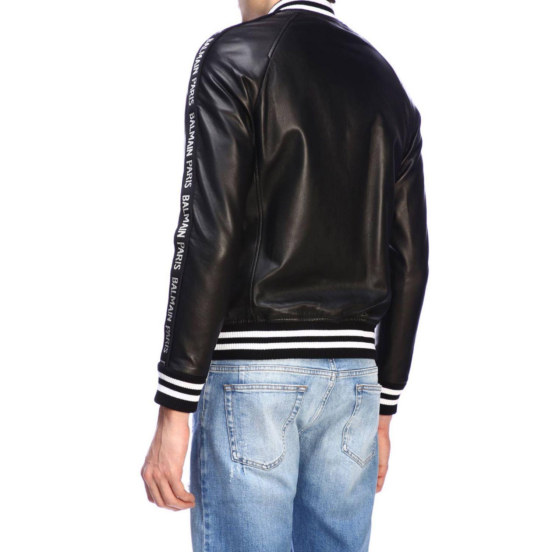 Jacke Balmain: Balmain Bomberjacke aus Leder mit Maxibändern mit Logo schwarz 3
