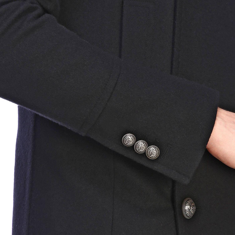 Balmain Caban aus Stoff mit Kapuze und zweireihigen Schmuckknöpfen schwarz 4