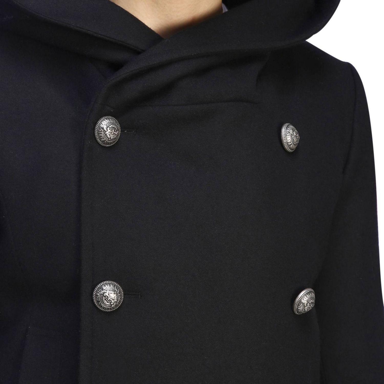 Balmain Caban aus Stoff mit Kapuze und zweireihigen Schmuckknöpfen schwarz 5