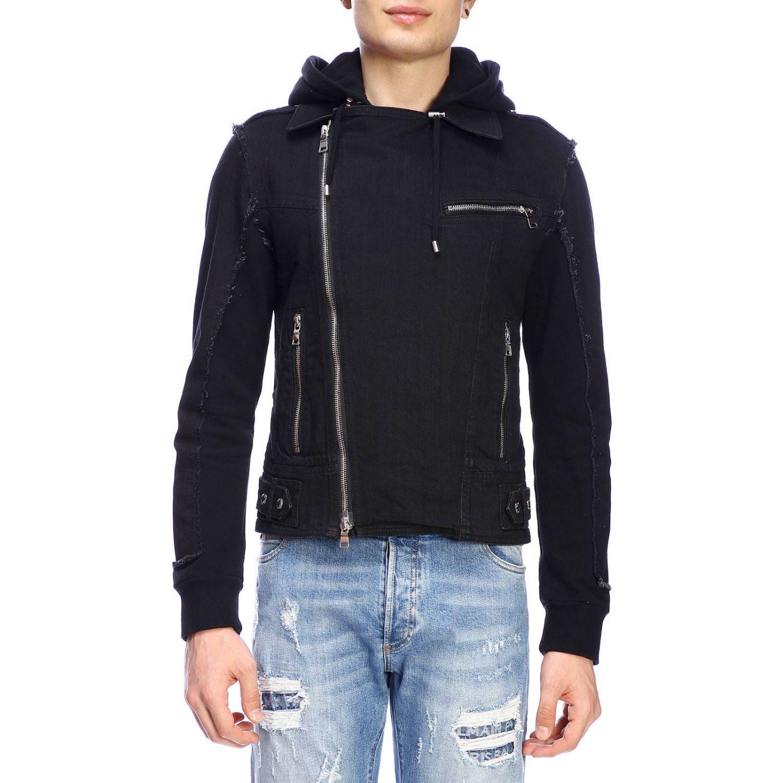Куртка Balmain: Куртка Balmain из денима на молнии с капюшоном и логотипом черный 1