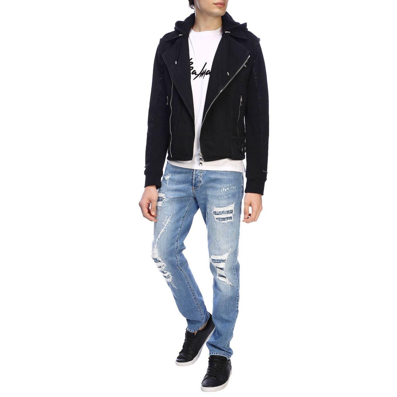 Куртка Balmain: Куртка Balmain из денима на молнии с капюшоном и логотипом черный 2