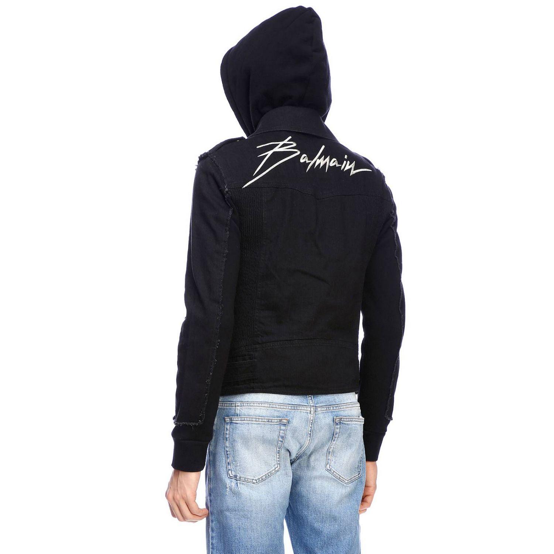 Куртка Balmain: Куртка Balmain из денима на молнии с капюшоном и логотипом черный 3