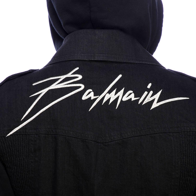 Куртка Balmain: Куртка Balmain из денима на молнии с капюшоном и логотипом черный 4