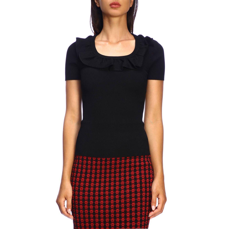 Red Valentino Kurzarmhemd mit Rüschen schwarz 1