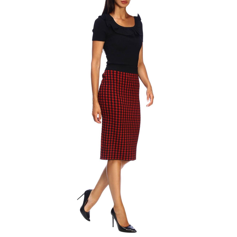 Red Valentino Kurzarmhemd mit Rüschen schwarz 2