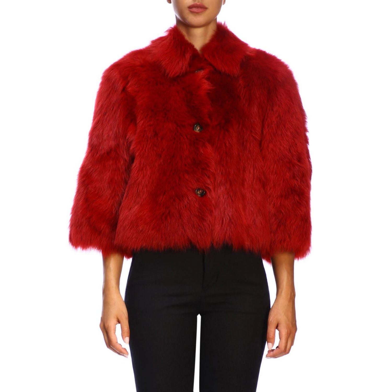 Red Valentino fur in cropped sheepskin red 1