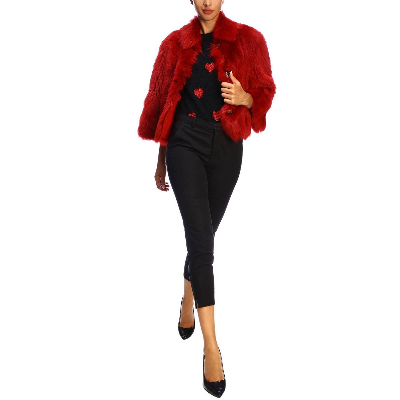 Red Valentino fur in cropped sheepskin red 2