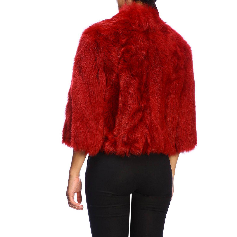 Red Valentino fur in cropped sheepskin red 3