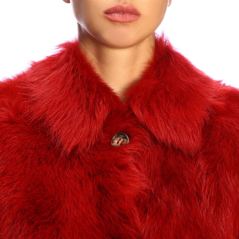 Red Valentino fur in cropped sheepskin red 4