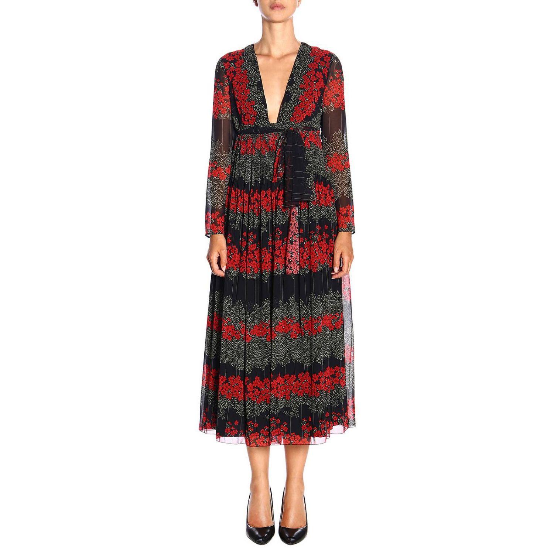 Vestido largo Red Valentino con estampado floral y detalle en la cintura negro 1