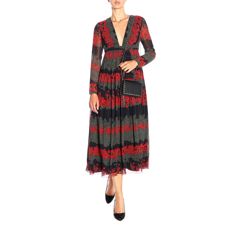 Vestido largo Red Valentino con estampado floral y detalle en la cintura negro 2