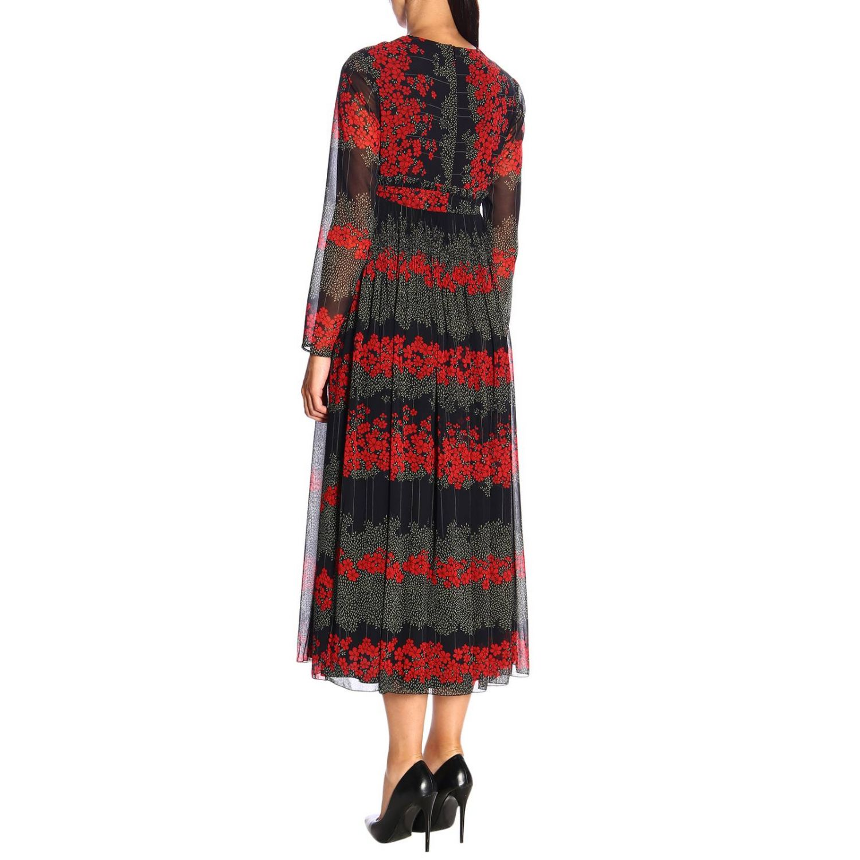 Vestido largo Red Valentino con estampado floral y detalle en la cintura negro 3